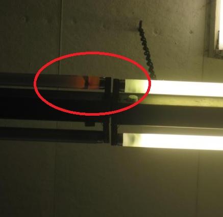 Defekte Leuchtstoffröhre mit KVG