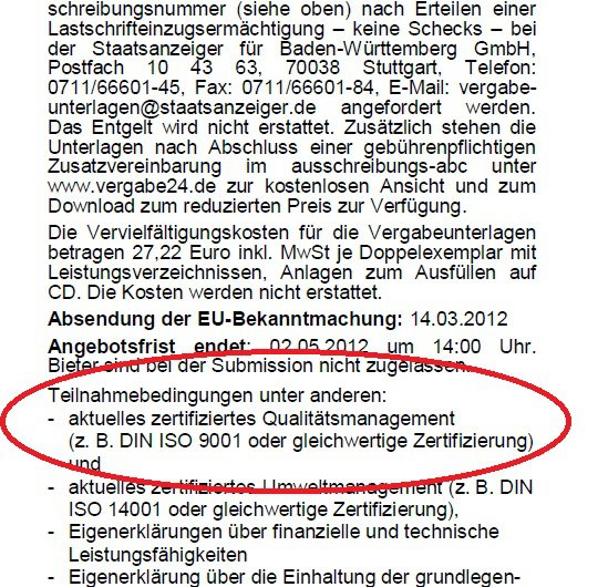 Forderung ISO 9001