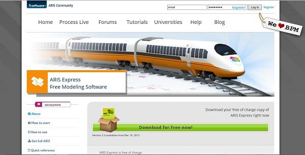 Downloadlink auf der Aris Homepage