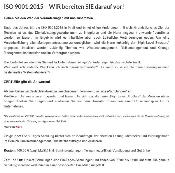Certuria Schulung ISO 9001 2015