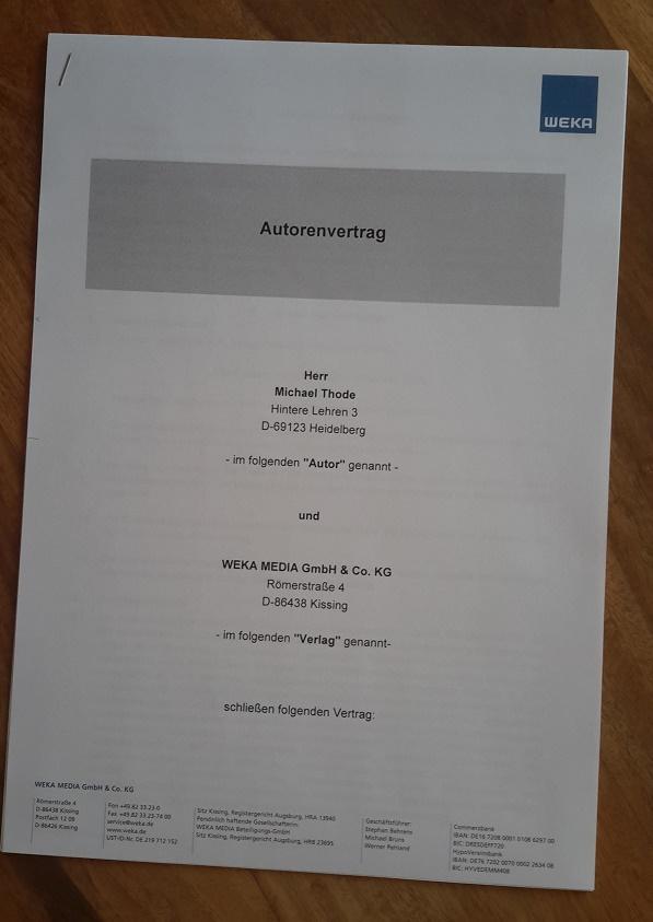 WEKA Vertrag Autor Qualitätsmanagement